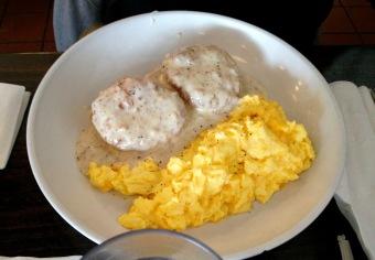 Biscuits, gravy, & eggs.